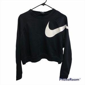 Nike black crop dri fit crew neck sweatshirt  Lrg